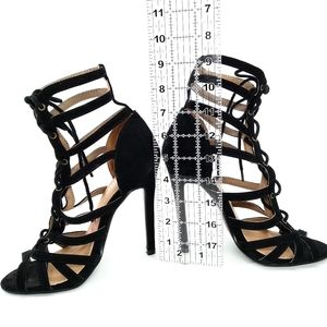 "Redkiss Black Caged Strappy 5"" Peep-toe Stilettos"